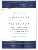This is a blue foil stamped wedding invitation by Hooray Creative called Geo Chic with foil-pressed printing on signature in standard.