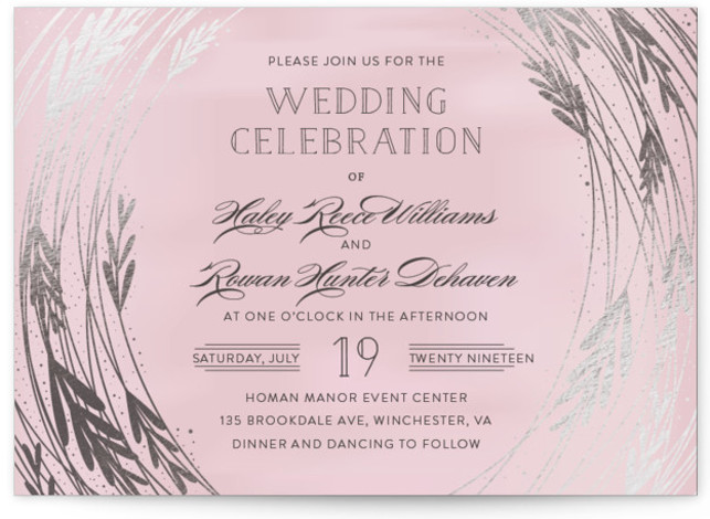 This is a landscape floral, rustic, pink Wedding Invitations by Bethany Anderson called Foiled Vines with Foil Pressed printing on Signature in Classic Flat Card format. This elegant and romantic wedding invitation boasts a textured background and gold foil foliage. ...