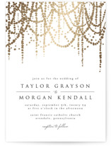 This is a gold foil stamped wedding invitation by Julia Hall called Pearl Garland with foil-pressed printing on signature in standard.