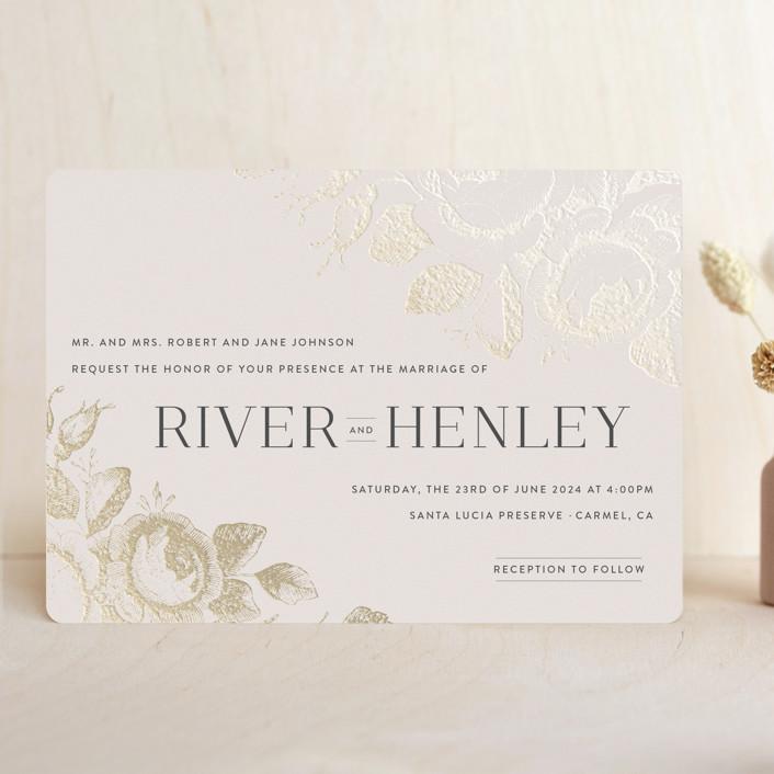 """Beloved"" - Foil-pressed Wedding Invitations in Mist by Design Lotus."