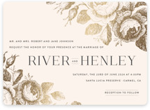 This is a pink foil stamped wedding invitation by Design Lotus called Beloved with foil-pressed printing on signature in standard.