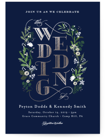 This is a portrait botanical, rustic, blue, green, silver Wedding Invitations by Jennifer Wick called Stacked wedding with Foil Pressed printing on Signature in Classic Flat Card format. A custom type design with whimsical florals