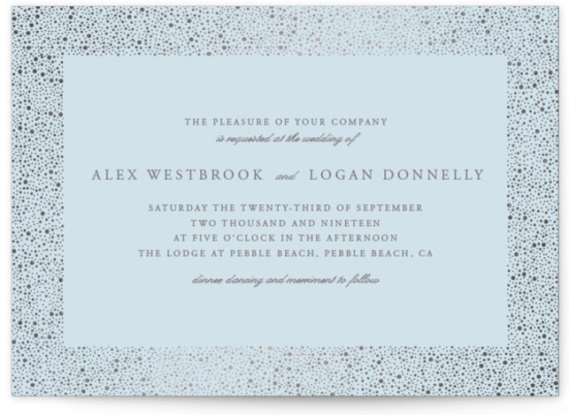 This is a landscape modern, simple, blue, white, silver Wedding Invitations by Erin Deegan called glittered with Foil Pressed printing on Signature in Classic Flat Card format. Foil pressed wedding invitation with a golden frame of glittering dots.