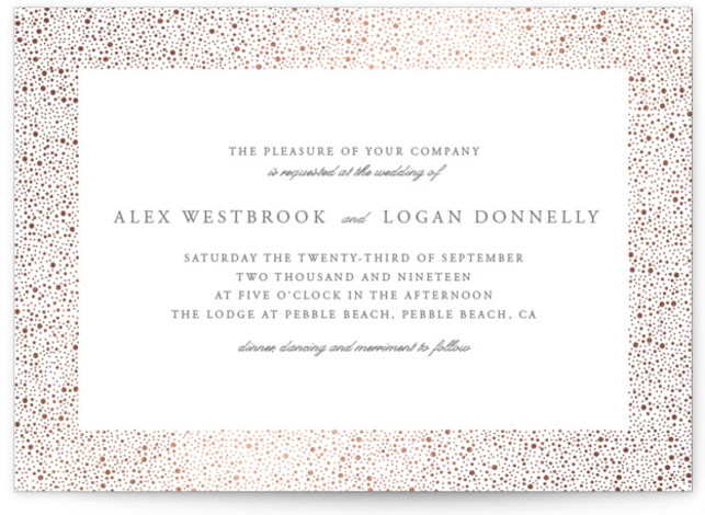 This is a landscape modern, simple, white, grey, rosegold Wedding Invitations by Erin Deegan called glittered with Foil Pressed printing on Signature in Classic Flat Card format. Foil pressed wedding invitation with a golden frame of glittering dots.