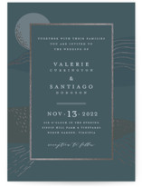 This is a blue foil stamped wedding invitation by Lucrecia called Al Fresco with foil-pressed printing on signature in standard.