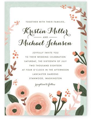 English Floral Garden Foil-Pressed Wedding Invitations