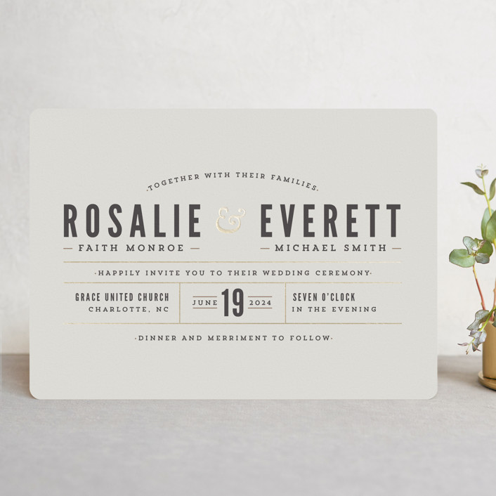 """""""Classic Type"""" - Simple, Bold typographic Foil-pressed Wedding Invitations in Mocha by Melissa Egan of Pistols."""