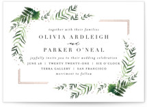 This is a pink foil stamped wedding invitation by Kristie Kern called Framed in Ferns with foil-pressed printing on signature in standard.