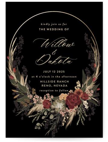Botanical Edge Foil-Pressed Wedding Invitations