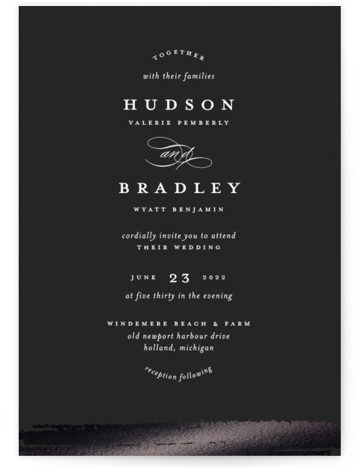 This is a portrait classic and formal, black Wedding Invitations by Ashley DeMeyere called Gala with Foil Pressed printing on Signature in Classic Flat Card format. Simple, minimal, and classic, this invitation features curvilinear typography and a textured foil edge. ...