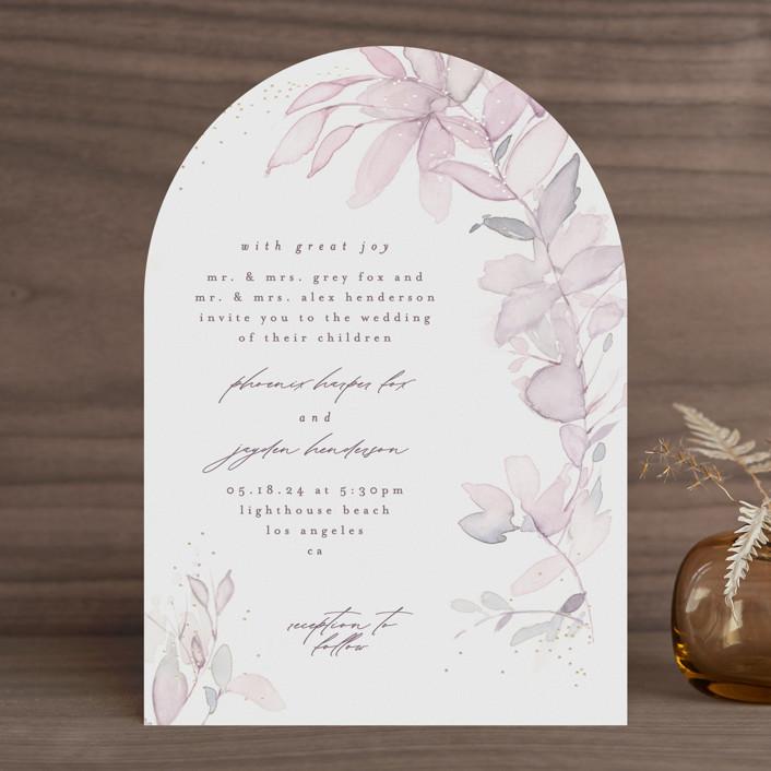 """side romance"" - Foil-pressed Wedding Invitations in Sunset by Phrosne Ras."