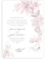 This is a purple foil stamped wedding invitation by Phrosne Ras called side romance with foil-pressed printing on signature in standard.