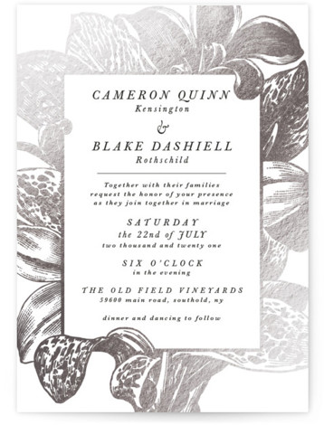 This is a portrait silver Wedding Invitations by Christie Kelly called Wild Blooms with Foil Pressed printing on Signature in Classic Flat Card format. Traditional meets bohemian in this wedding invitation. A lovely and lush bouquet surrounds the details of ...