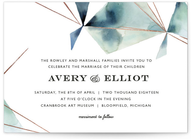 This is a landscape abstract, modern, simple, blue, green Wedding Invitations by Kelly Ventura called Prism with Foil Pressed printing on Signature in Classic Flat Card format. Muted watercolor washes and hints of metallic make the perfect pairing for any ...