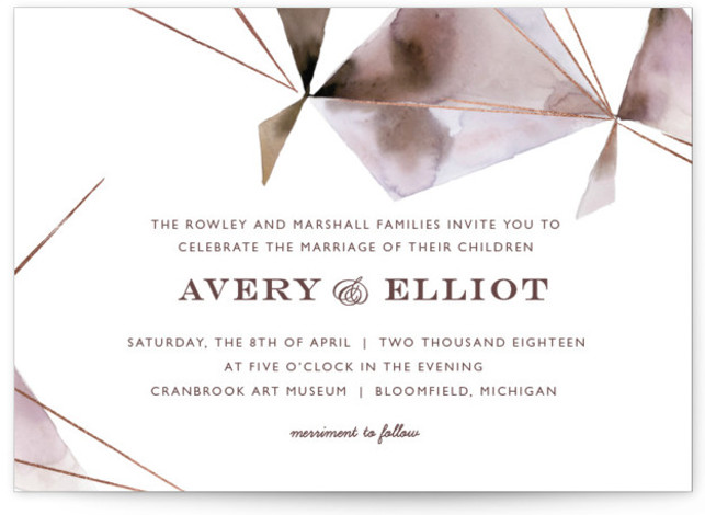 This is a landscape abstract, modern, simple, purple Wedding Invitations by Kelly Ventura called Prism with Foil Pressed printing on Signature in Classic Flat Card format. Muted watercolor washes and hints of metallic make the perfect pairing for any modern ...