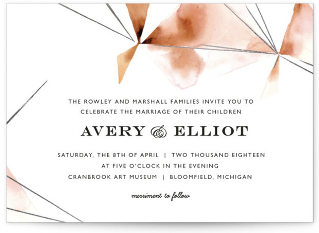 This is a landscape abstract, modern, simple, pink Wedding Invitations by Kelly Ventura called Prism with Foil Pressed printing on Signature in Classic Flat Card format. Muted watercolor washes and hints of metallic make the perfect pairing for any modern ...