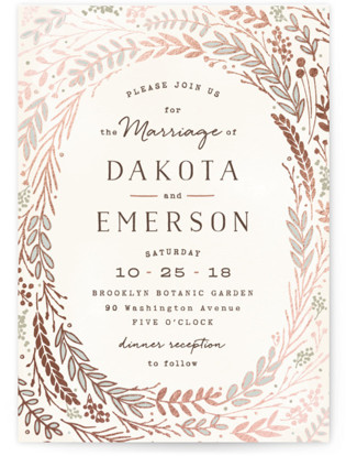 Rustic Wreath Foil-Pressed Wedding Invitations