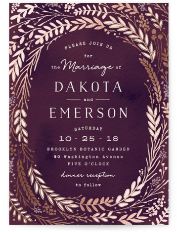 This is a portrait floral, hand drawn, metallic, rustic, purple Wedding Invitations by Hooray Creative called Rustic Wreath with Foil Pressed printing on Signature in Classic Flat Card format. A rustic wreath in an autumn color palette – perfect for ...