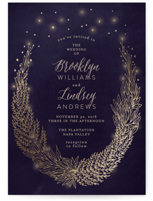 Secret Fairy Garden Foil-Pressed Wedding Invitations
