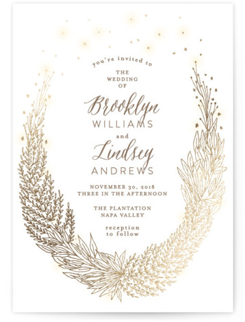 This is a portrait floral, hand drawn, metallic, rustic, white, gold Wedding Invitations by Phrosne Ras called Secret Fairy Garden with Foil Pressed printing on Signature in Classic Flat Card format. A romantic design featuring a hand drawn botanical wreath, ...