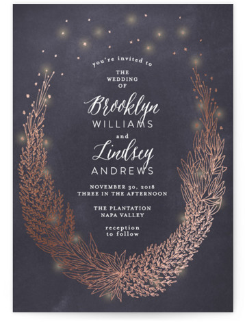 This is a portrait floral, hand drawn, metallic, rustic, grey, rosegold Wedding Invitations by Phrosne Ras called Secret Fairy Garden with Foil Pressed printing on Signature in Classic Flat Card format. A romantic design featuring a hand drawn botanical wreath, ...