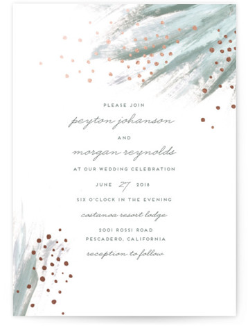 This is a portrait bohemian, painterly, green Wedding Invitations by Simona Camp called Shimmering Statement with Foil Pressed printing on Signature in Classic Flat Card format. This non photo wedding invitation design features a hand painted feathered background and shimmering ...