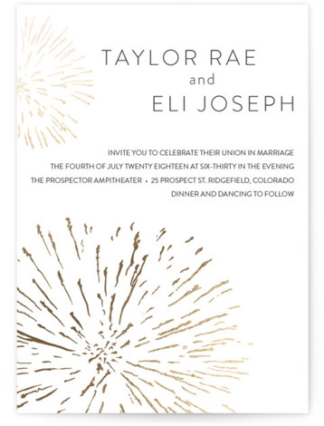 This is a portrait illustrative, whimsical, grey Wedding Invitations by R studio called Sparks with Foil Pressed printing on Signature in Classic Flat Card format. Let sparks fly to announce the details of your big day. Great for New Years, ...