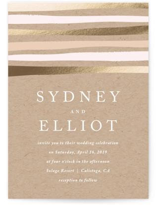 Striped Love Foil-Pressed Wedding Invitations