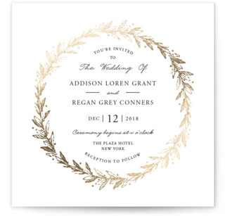 Winter's Garden Foil-Pressed Wedding Invitations
