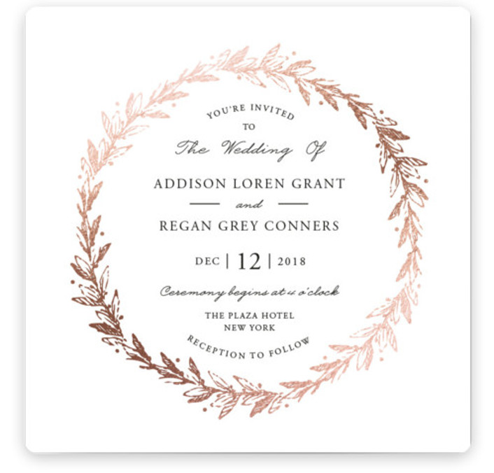 This is a square botanical, gold Wedding Invitations by Oma N. Ramkhelawan called Winter's Garden with Foil Pressed printing on Signature in Classic Flat Card format. A beautiful wedding invitation featuring a delicate wreath that is perfect for a snowy ...