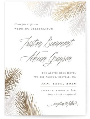 Winter Pine Foil-Pressed Wedding Invitations
