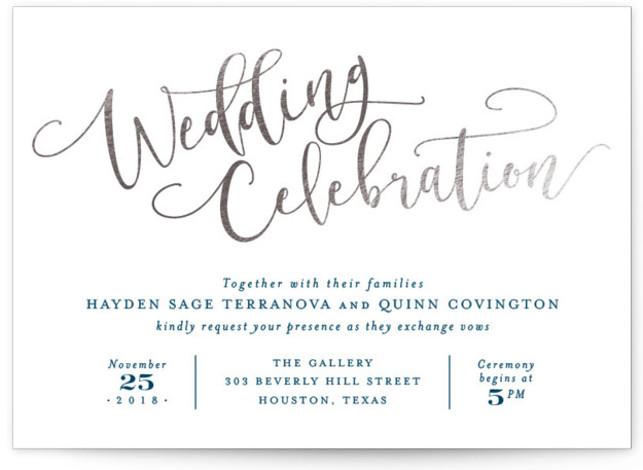 This is a landscape classical, elegant, hand drawn, metallic, modern, whimsical, silver Wedding Invitations by Hooray Creative called Celebration Script with Foil Pressed printing on Signature in Classic Flat Card format. Gold script and elegant type.