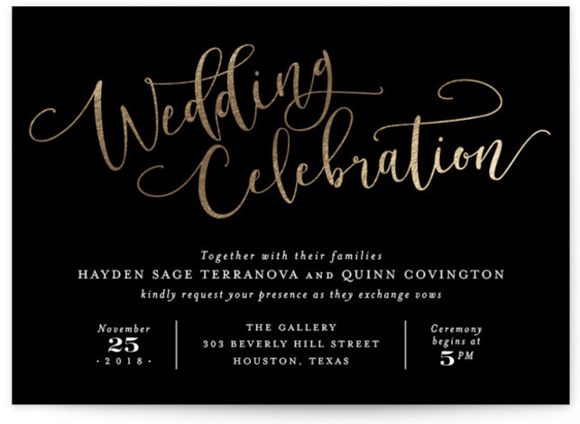This is a landscape classical, elegant, hand drawn, metallic, modern, whimsical, black and white Wedding Invitations by Hooray Creative called Celebration Script with Foil Pressed printing on Signature in Classic Flat Card format. Gold script and elegant type.