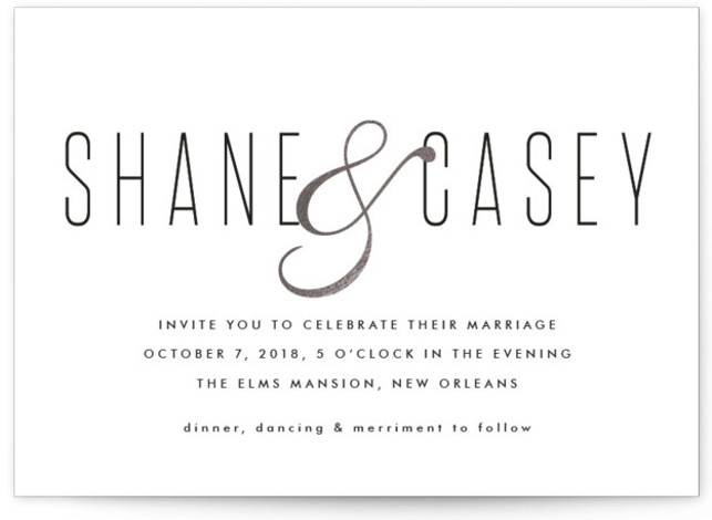 This is a landscape classical, metallic, modern, simple, silver Wedding Invitations by Tim St. Clair called Connected with Foil Pressed printing on Signature in Classic Flat Card format. Wanted to try something that incorporated a beautiful ampersand.