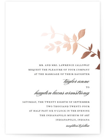This is a portrait botanical, rosegold Wedding Invitations by Jennifer Postorino called Daydream with Foil Pressed printing on Signature in Classic Flat Card format. This elegant offset wedding invitation features a whimsical branch and sophisticated topography.