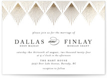This is a white foil stamped wedding invitation by Kelly Schmidt called Deco Fan Border with foil-pressed printing on signature in standard.