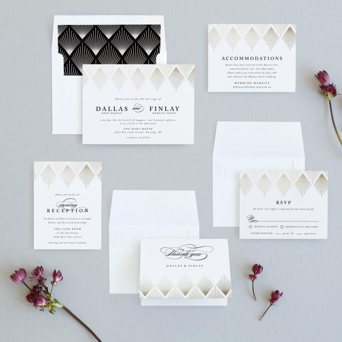 Deco Fan Border Foil-Pressed Wedding Invitations by Kelly Schmidt ...