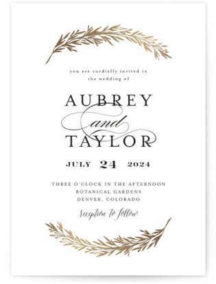 Dipped Laurels Foil-Pressed Wedding Invitations