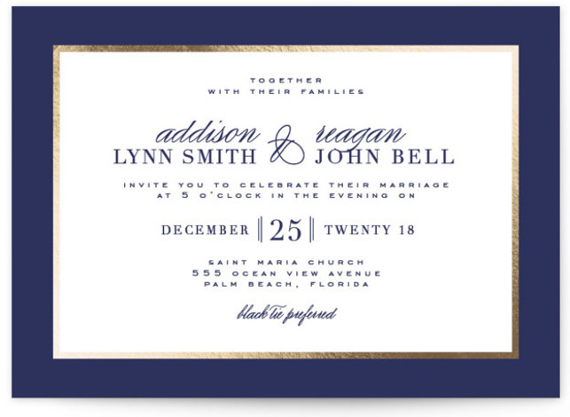 This is a landscape classical, elegant, formal, metallic, traditional, blue Wedding Invitations by Julia Hall called Elegant Type with Foil Pressed printing on Signature in Classic Flat Card format. I was inspired by typography from old issues of Vogue from ...