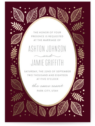 Eternal Autumn Foil-Pressed Wedding Invitations