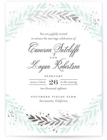 This is a portrait botanical, rustic, blue Wedding Invitations by Jessica Williams called Gathered Branches with Foil Pressed printing on Signature in Classic Flat Card format. Soft leafy branches create a wreath around beautiful wedding details.