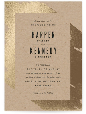 This is a portrait bold and typographic, brown, gold Wedding Invitations by Carrie ONeal called Gilded with Foil Pressed printing on Signature in Classic Flat Card format. A modern, painterly invitation. Graphic and simple. Just how I like 'em! :) ...