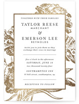 This is a gold foil stamped wedding invitation by Christie Kelly called Gilded Bloom with foil-pressed printing on signature in standard.