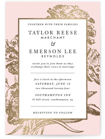 This is a portrait botanical, pink Wedding Invitations by Christie Kelly called Gilded Bloom with Foil Pressed printing on Signature in Classic Flat Card format. Charming type surrounded by sophisticated gold blooms is the perfect invitation for your elegant affair. ...