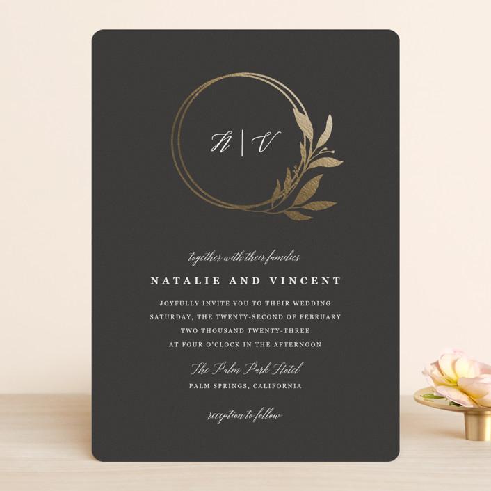 """Mod Wreath"" - Foil-pressed Wedding Invitations in Eclipse by Stellax Creative."