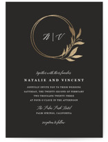 This is a brown foil stamped wedding invitation by Stellax Creative called Mod Wreath with foil-pressed printing on signature in standard.