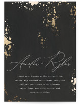 This is a black foil stamped wedding invitation by Robert and Stella called Fresco with foil-pressed printing on signature in standard.