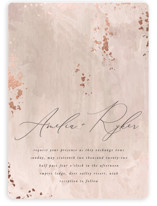 This is a pink foil stamped wedding invitation by Robert and Stella called Fresco with foil-pressed printing on signature in standard.
