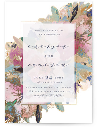 Gilded Drape Foil-Pressed Wedding Invitations