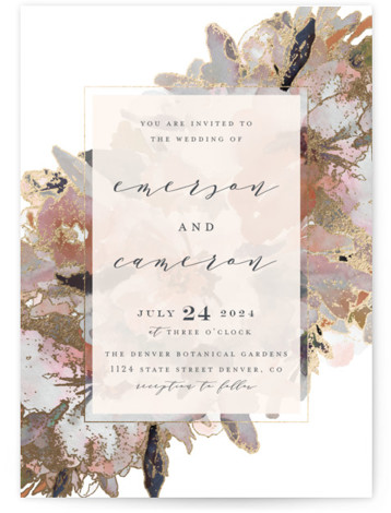 This is a portrait botanical, painterly, traditional, brown Wedding Invitations by Grace Kreinbrink called Gilded Drape with Foil Pressed printing on Signature in Classic Flat Card format. Hand painted watercolor wedding invitation featuring modern florals and gilded accents.